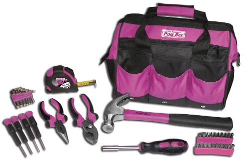 Utility Kit Bag - The Original Pink Box PB30TBK 30-Piece Tool Set, w/ 12-Inch Tool Bag, Pink