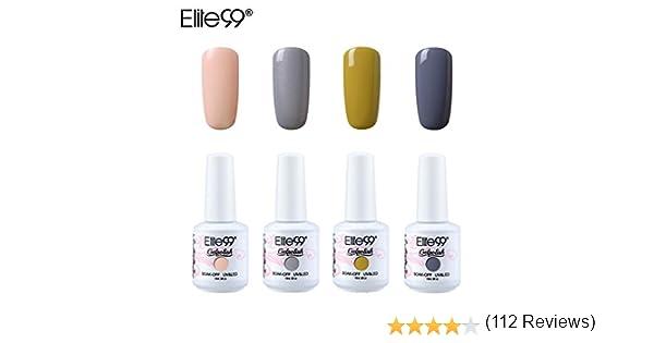 DiGi Elite99 3-en-1 Pack Semi Permanente de 4 ultravioleta del gel de la manicura del clavo del barniz del polaco del arte del clavo Kit 19: Amazon.es: Belleza
