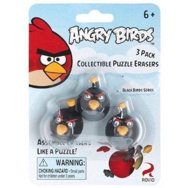 Angry Birds Black Bird Collectible Puzzle Erasers 3 pack by Commonwealth Toy & Novelty