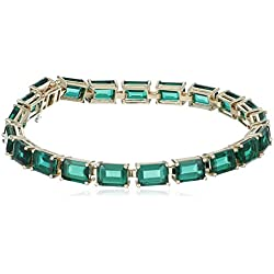 10k Yellow Gold and Created Emerald Bracelet, 7""