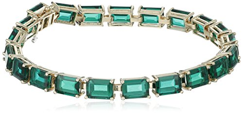 """10k Yellow Gold and Created Emerald Bracelet, 7"""""""