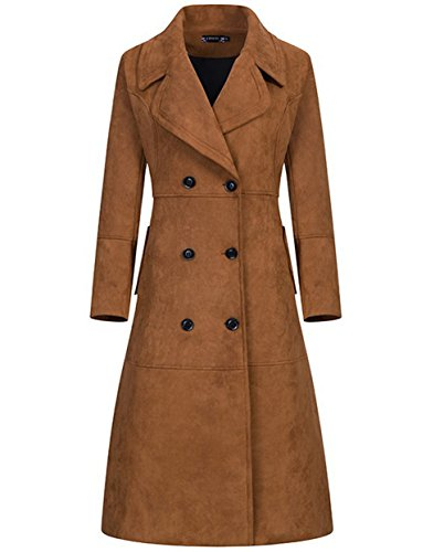 Women's Brown Double Breasted Longline Lapel Suede Trench Jacket Cardigan (X-Large)