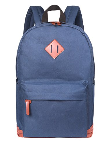 Blue Cheap Classic Waterproof Lightweight School Backpack Fits 14Inch Laptop Bookbags by Beauty Collector