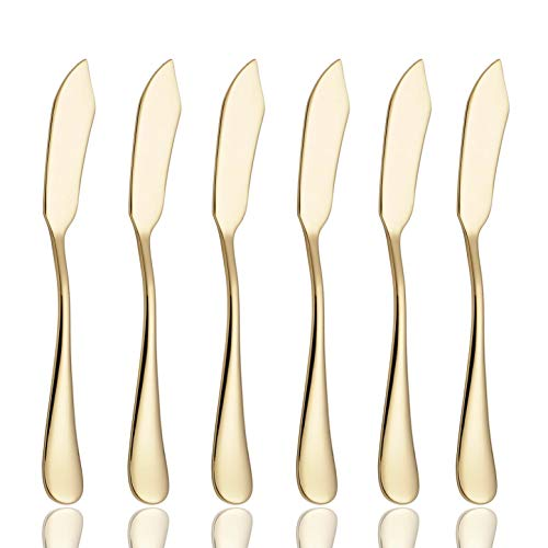 6 Piece Butter Knife 6-inch Stainless Steel Cheese Spreader Knives Set Table Silverware Dishwasher Safe, Packs of 6 - Cheese Knife Gold