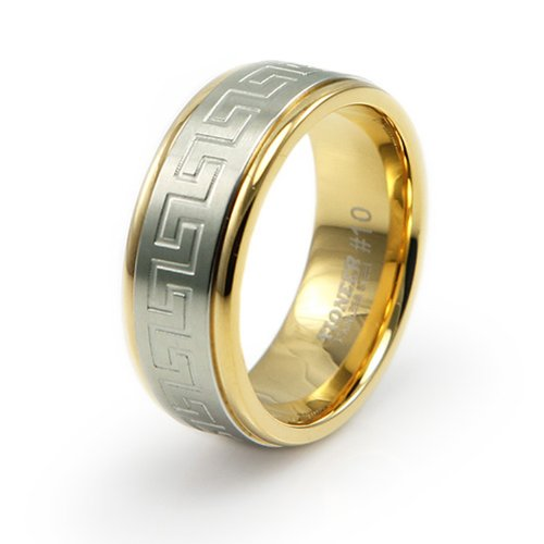 Greek Design Ring - Two-Tone Stainless Steel Ring w/ Greek Design - Size 12