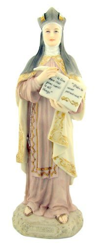 Saint St Teresa of Avila Patron of the Sick 8 1/4 Inch Light Color Stone Resin Statue Figurine by Religious Gifts
