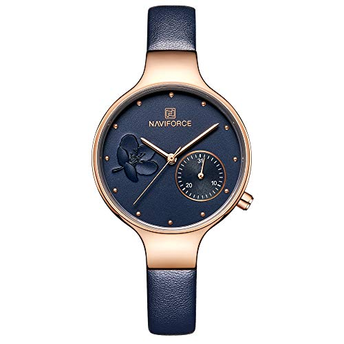 NAVIFORCE Women's Quartz Leather and Alloy Fashion Watches, Blue, Waterproof, Date, Color: Rose Gold-Toned (Designer Watch Womens)