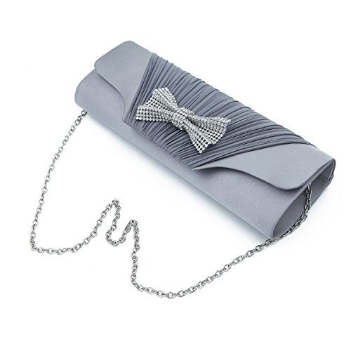 (Elegant Pleated Satin Flap Rhinestones Bow Clutch Evening Bag, Silver Grey)