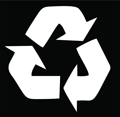 (Recycling Symbol WHITE vinyl cut-out sticker 4.5