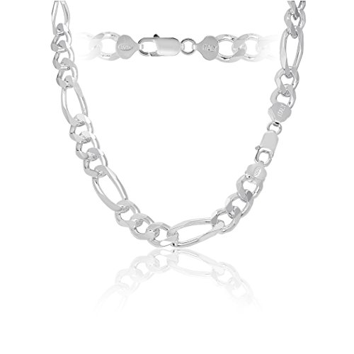 "Solid Sterling Silver 10mm Men's Italian Figaro Chain 24"" inch - 10mm Silver Chain Figaro"