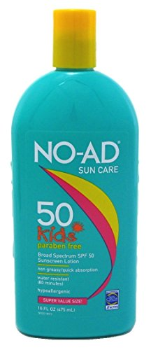 NO-AD Kids Sun Care Sunscreen Lotion, SPF 50 16 oz Pack of 3
