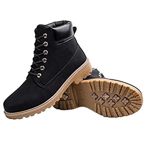 Meijunter Neue Mens Casual Stiefel Ankle Boot Schuhe Trainer Lace Up Walking Work Schuhe Schwarz