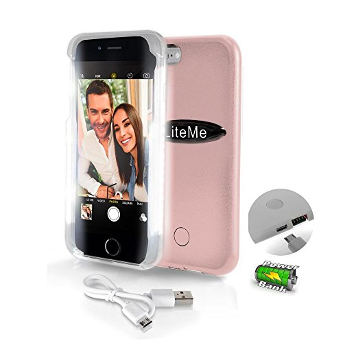 SereneLife iPhone 6 iPhone 6S Selfie Case - Durable LED Illuminated Flashing Light selfie case for Instagram Snapchat with Power Bank Phone Charger. (SLIP101RG)