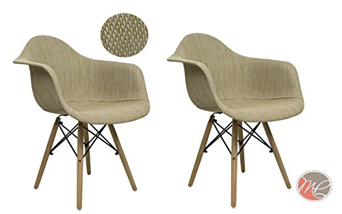 Madison Park SET OF 2 Modern Contemporary Eames HAVERFORD Leisure Chair Rattan Cream Beige Seating Accent for Dinning, Den, Bedroom or - Contemporary Leisure Chair
