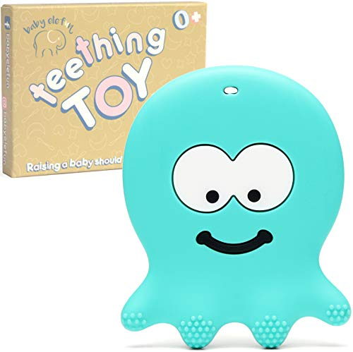 Baby Chew Toys Teething - BPA Free Silicone - Easy to Hold, Soft, Bendable, Highly Effective Octopus Teether, Best for Freezer, Cool 3 6 12 Months Old Easter Gift