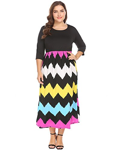Involand Women's Plus Size Fashion 3/4 Sleeve Casual Contrast Color Striped Maxi Long Dress (24w, (24w Skirt)