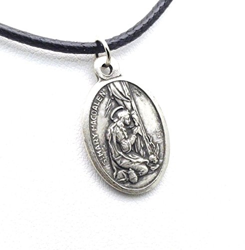 saint-mary-magdalene-necklace-patron-saint-of-women-and-converts-italian-made-pendant-on-leather-cor