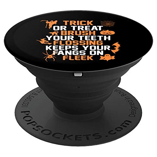 Halloween Brush Your Teeth Flossing Keeps Your Fangs  PopSockets Grip and Stand for Phones and
