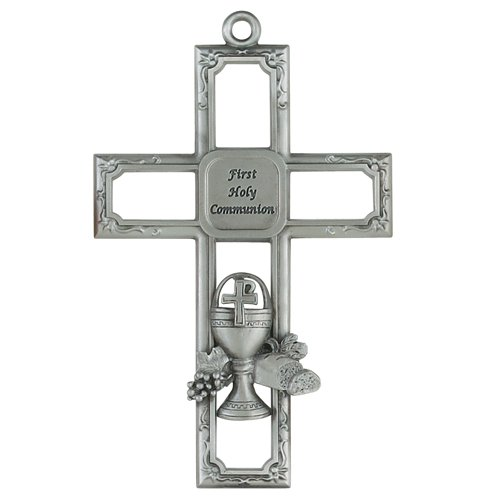 "Catholic Girls or Boys First Communion Cross - 6"" Pewter Chalice Cross with ""First Holy Communion"" in the Center of the Cross. This Beautifully Crafted Communion Cross Comes Packaged in a Gift Box and is made in the USA!!!. Wall Crosses Make Great Gifts f"