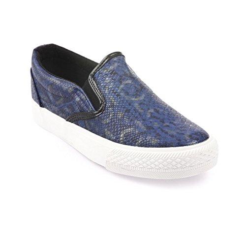 La Modeuse zapatillas-slip-on con aspecto de piel de cocodrilo Azul - azul