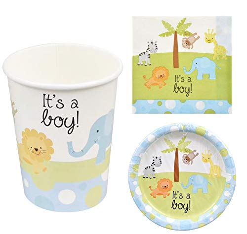 It's A Boy Safari Jungle Baby Shower Party Supplies Set! Paper Plates Paper Cups Napkins! Party Animals For Baby Shower For Boy!]()