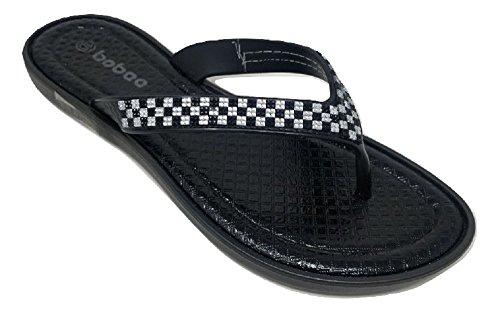 Women's Quilted Checkered Gem Strap Summer Beach Sandals Slip On Flip Flop Thongs (9, Black)