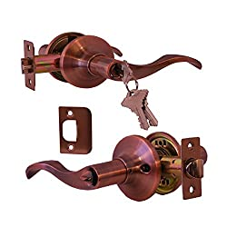 Prelude Entry by Constructor Lever Door Lock Handle Set Antique Copper Finish CON-PRE-AC-ET