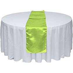 "10pcs 12"" X 108"" Satin Table Runner for Wedding Party Banquet Rectangular and Round Table by GW Home (10, Lime)"