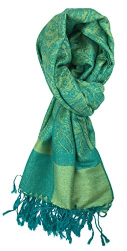Plum Feathers Tapestry Ethnic Paisley Pattern Pashmina Scarf lime aqua