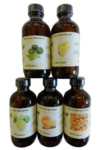 Set of 5 Citrus Extracts (lemon, lime, key lime, orange, tangerine) 4 oz each