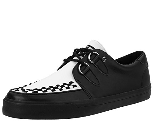 T.U.K. A9180 Unisex Black & White VLK Creeper Sneaker with Black Sole Tuk Creeper Shoes