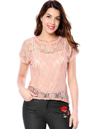 Allegra K Women's Curved Hem Sheer Short Sleeves Floral Lace Top XS Pink