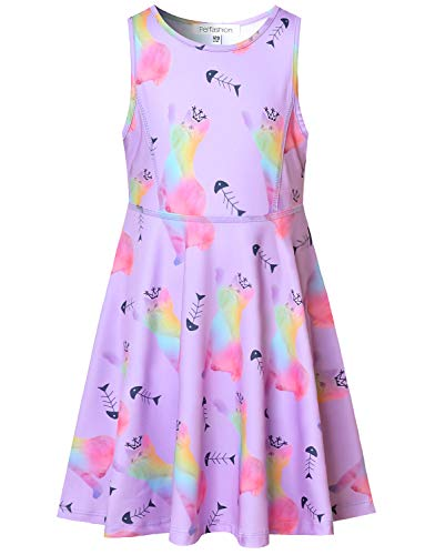 Pleated Blouse Print Animal - Perfashion Girl's Unicorn Dress Swing Summer Pleated Purple Cat Animals Sleeveless Dresses