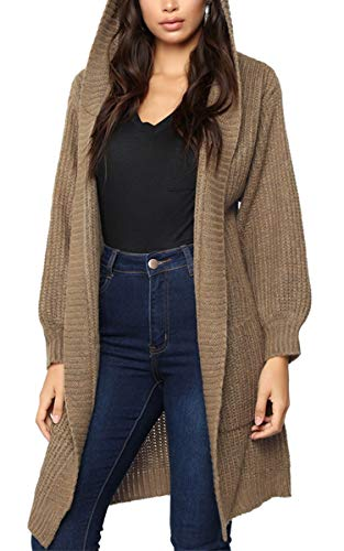 Angashion Women's Hooded Open Front Cable Knit Long Cardigan
