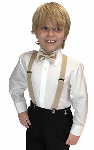 (Spencer J's Boys X Back Suspenders & Bowtie Set Variety of Colors (Champagne))