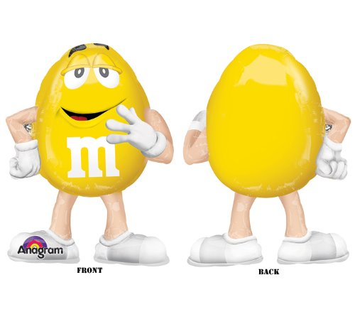 Yellow Peanut M&M Shaped 27'' Airwalker Mylar Foil Balloon Candy Birthday Party by Anagram