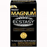 Bundle Package Of Trojan Magnum Ecstasy Ultrasmooth Lubricated And a Bottle o...