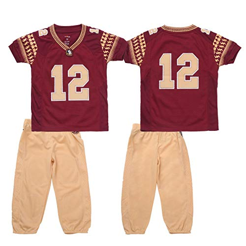 FAST ASLEEP NCAA Florida State Seminoles Boys Toddler/Junior Football Uniform Pajamas, Size 6T, Maroon/Gold