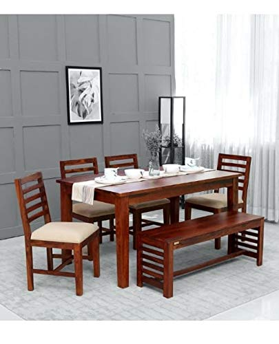 KR Woods Dining Table 6 Seater | Six Seater Dinning Table with Chairs | Dining Room Sets | Wood Finish
