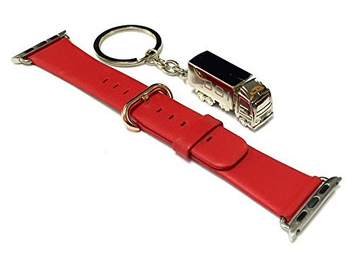 BSI 1pc 38mm Elegant Fire Red Leather Strap Band for Apple Smart Watch Simple Stainless Steel Rose Gold Plated Closure + Free Silver Metal Truck Keychain with BSI(TM) LOGO