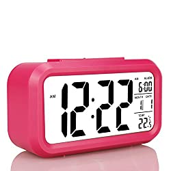 Children's Clocks,Travel Alarm Clock For Teen Girls, Battery Operated Backlight Desk Morning Clock, Large LCD Display(Date,Temperature,Snooze),Home Office Bedroom Clocks,sell on US Amazon only!