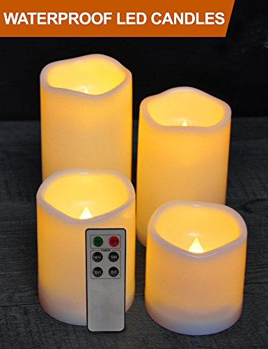 HOME MOST Set of 4 WATERPROOF Outdoor LED Pillar Candles with Remote (CREAM, 3''/4''/5''/6'' Tall, Wavy Edge) - Outside Candles Flameless Candles with Timer Candles Battery Operated - Home Decor Candles by HOME MOST