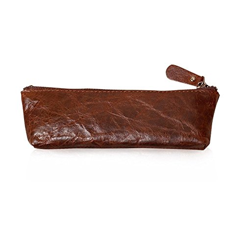 XIDUOBAO Handmade Retro Genuine Leather Pencil Pouch Vintage Soft Genuine Leather Pencil Pen Case Pouch Holder Bag. (01)