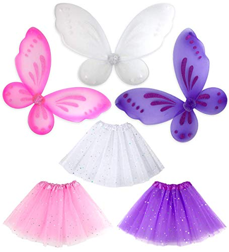Girls Princess Butterfly Fairy Angel Wings Ballet Sparkle Tutu Birthday 3 Pack (Multi) ()