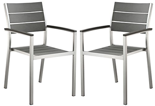 Cortesi Home Maxwell Aluminum Outdoor Arm Chair in Slate Grey Poly Wood, Brushed Nickel (Set of 2) For Sale