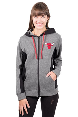 NBA Chicago Bulls Women's Full Zip Hoodie Sweatshirt Jacket Dime, Large, Charcoal