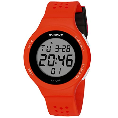 SYNOKE Waterproof Men's LED Digital Quartz Sports Watch (Red) - 5