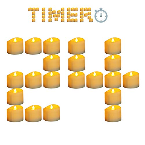 Micandle 24 Pack Battery Timer Tea Lights,6 Hours on and 18 Hours Off in 24 Hours Cycle Automatically,Amber Yellow Timing Candles Perfect for Wedding Party Church Home Decor,1.4