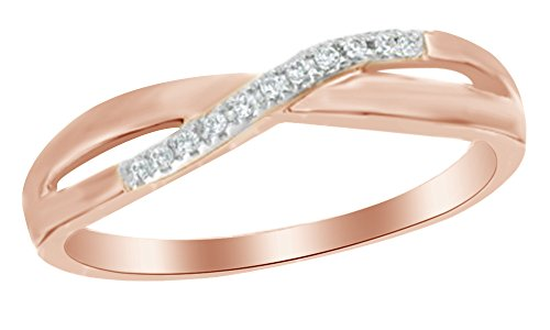 White Natural Diamond Accent Criss-Cross Wave Band Ring in 10K Solid Rose Gold Diamond Accent Criss Cross Ring