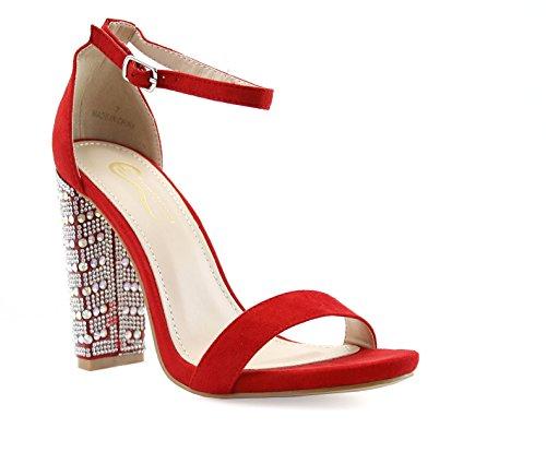 FOREVER VOGUE Women's Rhinestone Chunky Block High Heel Open Toe Ankle Strap Dress Sandals